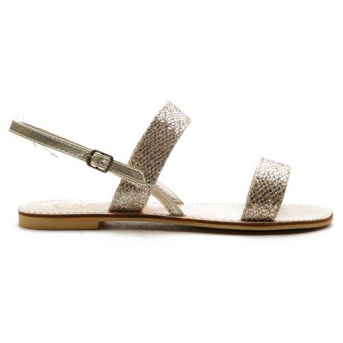Ollio Women's Shoe Flat Slingback Multi Color Sandal(7.5 B(M) US, Gold)