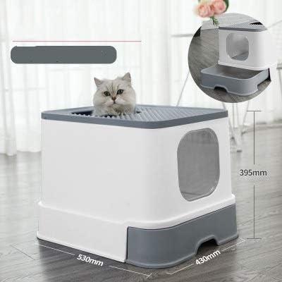 猫トイレ 猫のトイレボックストップエントリ猫サンドボックス大容量トイレトレイクローズスプラッシュ引き出しスタイルトレイトイレ LJJJP (Color : グレー, Size : フリー)