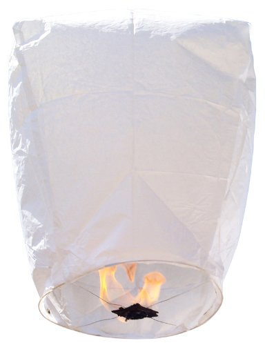 Just Artifacts Wholesale 240 ECO Wire-Free Flying Chinese Sky Lanterns (Set of 240, Wire-Free Eclipse, White) - 100% Biodegradable, Environmentally Friendly Lanterns!