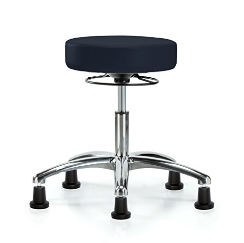 Perch Chrome 360-Degree Height Adjustable Swivel Stool Stationary Without Wheels for Massage Medical Office Shop or Home (Stationary Caps/Imperial Fabric) by Perch Chairs & Stools