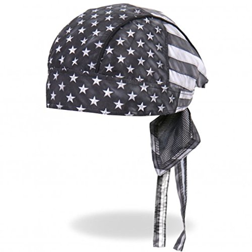 Hot Leathers Distressed USA American Patriotic Flag Black Gray White Head Wrap Durag Biker ()