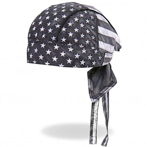 Leather Biker Skull Cap - Hot Leathers Distressed USA American Patriotic Flag Black Gray White Head Wrap Durag Biker