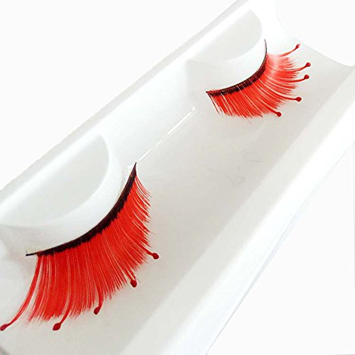 Euone  Halloween Clearance , Eyelashes for Women 's Halloween Party Party Makeup Art Red Wave False Eyelashes -