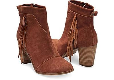 TOMS Women's Lunata Boot (9.5 B(M) US / 40 EUR, Cognac Suede/Fringe)