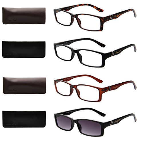 4-Pack Reading Glasses for Women and Men LianSan Vintage Rectangular Readers Include Magnified Sun Glasses 2.75 Strength