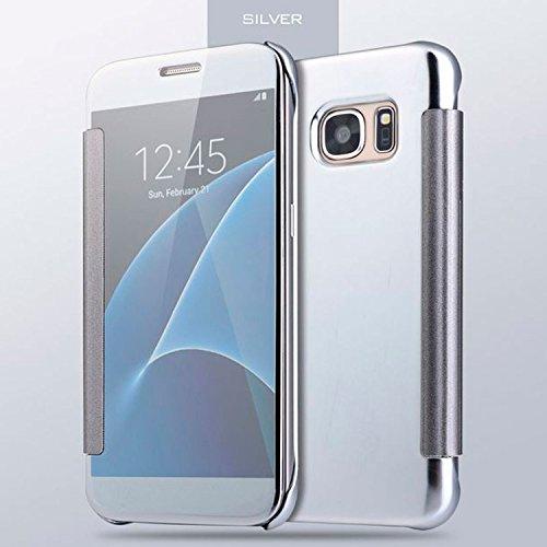 Funda Samsung Galaxy S7, SAXONIA cubierta carcasa case flip protectora de Privacidad - Azul Plata