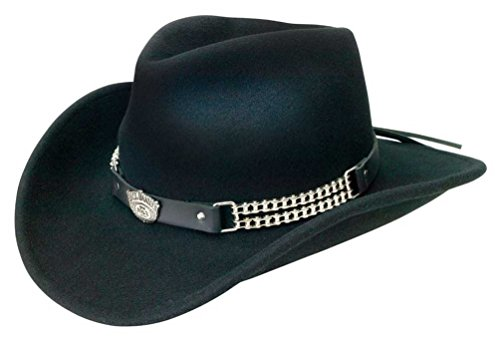 Jack Daniels Cowboy Hats - Jack Daniels Chain Link Shapeable Soft Wool Cowboy Hat - Black JD03-105 (M)