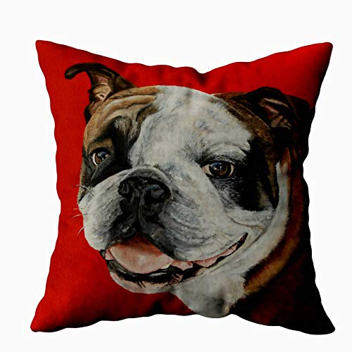 Bulldog Toss Pillow - Shorping Zippered Pillow Covers Pillowcases 18X18 Inch English Bulldog Pillow Decorative Throw Pillow Cover,Pillow Cases Cushion Cover for Home Sofa Bedding Bed Car Seats Decor