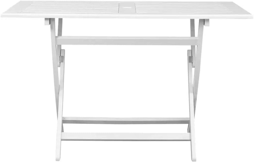Bianco L x W x H Tavolino Esterni in Legno 120 x 70 x 75 cm Tavolo da Pranzo Esterno per Giardino o Terrazza o Balcone Wakects Tavolo Pieghevole da Giardino