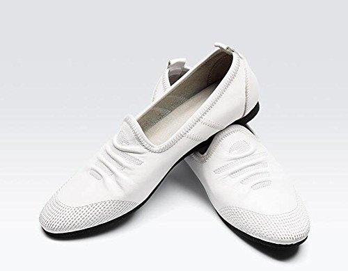 Männer Slip-On Oxford Sommer Breathable Männer Schuhe Casual Schuhe Erbsen Schuhe Weiche Leder Leder Bequeme flache Schuhe , white , 39