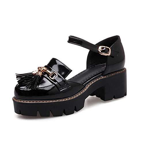 ZHZNVX Zapatos de Mujer PU (Poliuretano) Tacones de Bomba básicos de Verano Tacón Grueso Blanco/Negro Black