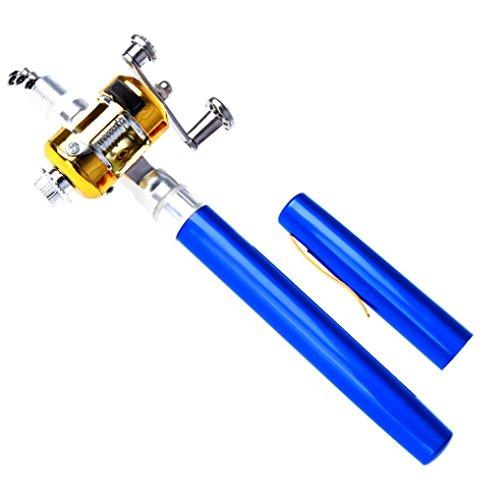 Telescopic Mini Portable Pocket Fish Pen Alloy Fishing Rod Pole + Reel Blue - 8