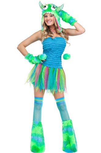 FunWorld Sexy Beast Monster Adult, Blue/Green, 10-14 Medium/Large Costume (Medusa Sexy Costume)