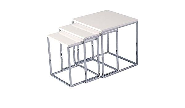 Juego de 3 mesas nido – Tapa de madera fabricado y Base de Metal – estilo de transición sala de estar muebles, color blanco: Amazon.es: Hogar