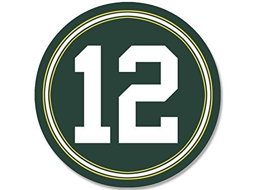 GHaynes Distributing ROUND #12 Aaron Rodgers Packers Colors Sticker Decal (green bay number 12) Size: 4 x 4 inch