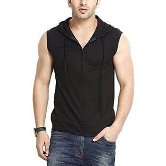 GRITSTONES Men's Hooded Cotton Zipper Jacket T-Shirt
