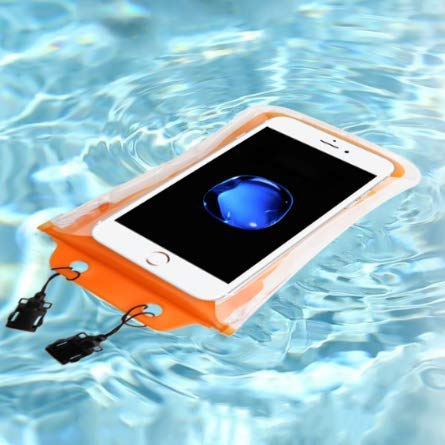 2019 Universal Floating Waterproof Phone Pouch, Cellphone Dry Bag Pouch for iPhone X, 8/7/7 Plus/6S/6/6S Plus, Samsung Galaxy S9/S9 Plus/S8/S8 Plus/Note 8 6 5 4, Google/HTC/LG/Sony/Moto (ORANGE)