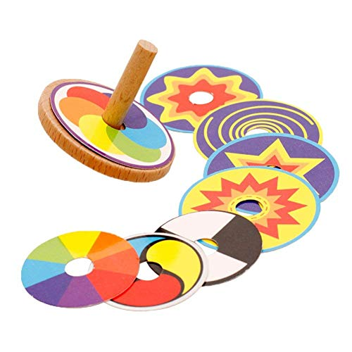 O-Toys Kids Spinning Tops Toys Mini Wooden Gyro Peg Fun Colored Printing Spinning Top Toy for Boys Girls Birthday Learning Education Toy (8 Patterns) ()