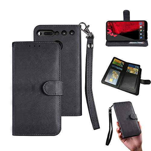 Essential PH-1 Case, Essential PH-1 Wallect Case, Flip Magnetic 6 Cards / 1 Photo Slot/Cash Pocket PU Leather Cover with Wrist Strap [Wallet Stand] Case for Essential PH-1 (Black) by okasis