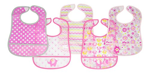 Cudlie Baby Girls 5-pack Frosted PEVA Bibs One Size Pink