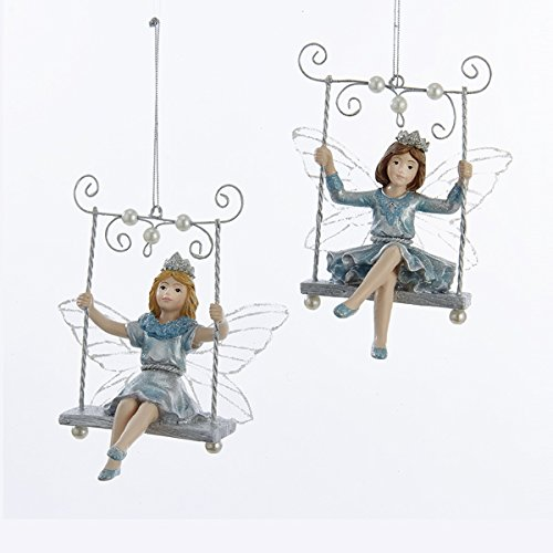 Kurt Adler 1 Set 2 Assorted Platinum And Teal Blonde And Brunette Fairy on Swing Christmas Ornaments -
