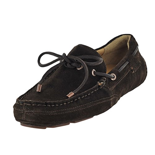 Sebago Men's Kedge Tie Mary Jane Flat, Dark Brown Embossed Suede, 9.5 M US