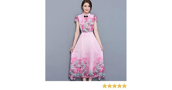 Vestido de mujer Vestidos de las mujeres 2018 Imprimir vestido de la envoltura del Chinoiserie del cuello redondo Estampado de flores retro de clase ...