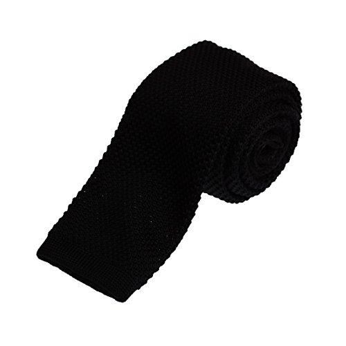 Black Skinny Knit Tie For Men 2