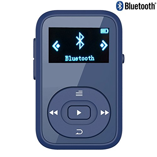 RUIZU X26 8GB Clip Sport Bluetooth MP3 Music Player with FM Radio Record Lossless Sound Portable Music Player (Supports up to 64GB)-Navy blue