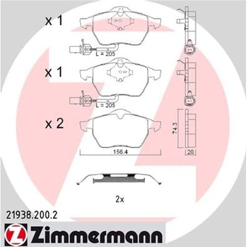 inklusive Platte d/ämpfend ZIMMERMANN 21938.200.2/Serie Bremsbelagsatz Hinten mit Vorbereitung Sensoren