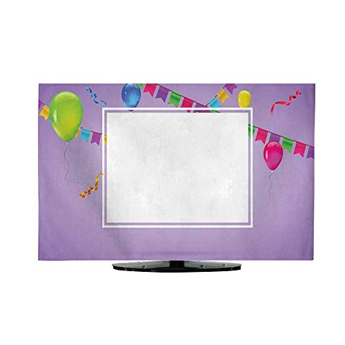 TV Cover Celebrate Colorful Background with Flying Colorful Balloons on Colored Background Template for Greetings or Birthday Card Invitation with Hanging Garlands of Colored Flags and Streamers L30 -