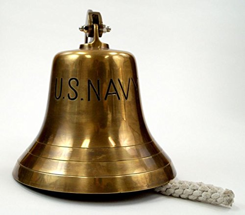 Brass ''Us Navy'' Bell, Antique Finish by Go Nautical Decor