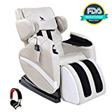 Mecor Massage Chair Full Body, Zero Gravity Heated Recliner with Stretched Foot Rest,Airbag/Rolling Massage System,Music Function (White)