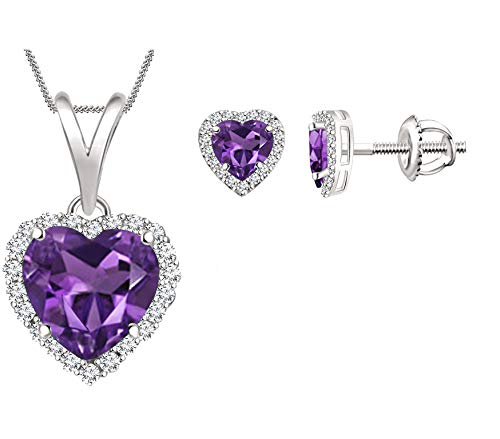 - SilverDew Created or Simulated Gemstone Halo Heart Necklace & Stud Earrings Set for Women (Created-Amethyst, White-Gold-Plated-Base)