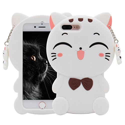 iPhone 7 Plus Case, MC Fashion 3D Lucky Fortune Cat (White Lucky Cat)