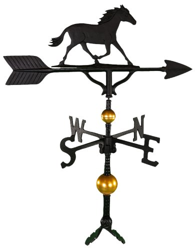 Large Horse Weathervane - Montague Metal Products 32-Inch Deluxe Weathervane with Satin Black Horse Ornament
