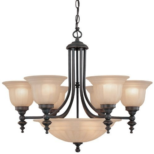 (Bronze Finish Transitional Chandelier with Center Bowl by Dolan Designs Lighting )
