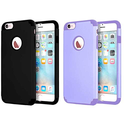 [2pack] CaseHQ Case Phone Case for iPhone 6s Plus iPhone 6 Plus 5.5 inch case,Soft Interior Silicone Bumper&Hard Shell Solid PC Back,Shock-Absorption&Skid-Proof,Anti-Scratch -Purple+Black