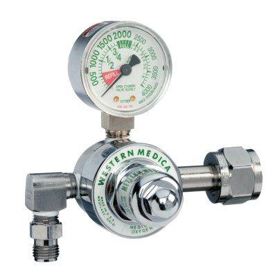 Western Enterprises M1-540-P M1 Series Preset Pressure Gauge Regulators, Oxygen, CGA540 Nut/Nipple, 3,000 psi