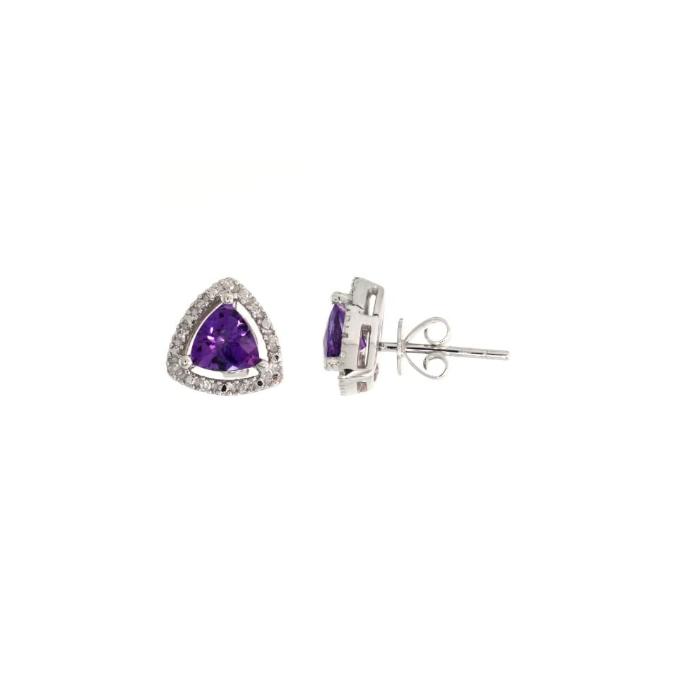 14k White Gold Trillion Diamond Earrings, w/ 0.08 Carat Brilliant Cut Diamonds & 1.93 Carats Trilliant Cut (6mm) Amethyst Stone, 3/8 in. (10mm) tall