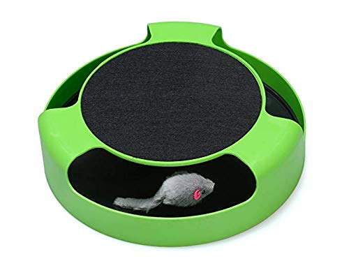 SWS-TECH Cat Interactive Toys with a Running Mice and a Scratching Pad,Catch The Mouse,Cat Scratcher Catnip Toy,Green