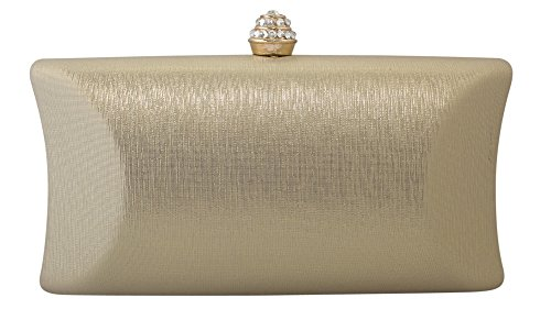 - Chicastic Rhinestone Crystal Clasp Hard Box Wedding Evening Bag Bridal Cocktail Clutch Purse Gold