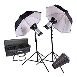 Flashpoint 320M Portrait Wedding Monolight Kit, with Two 320 Monolights,9.5\' Stands,Umbrellas, Snoot and Carrying Case