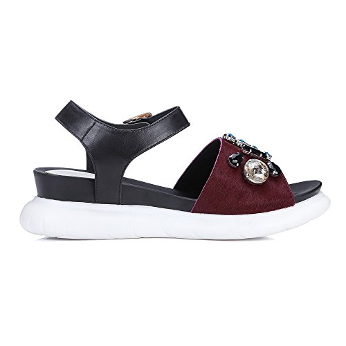 AmoonyFashion Womens Blend Materials Kitten-Heels Open-Toe Solid Buckle Sandals Claret RIWMOb77Pc