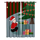 Blackout Window Kitchen Curtains Drapes, 2 Panels Set Window Treatment for Living Room/Bedroom/Office/Cafe, Christmas Boy Decorating Xmas Trees and Hanging Gift Box 104W by 84L inch