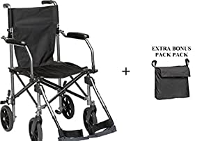 "Wheelchair Transport Folding 19""W/SWINGAWAY LEGRESTS with Carrying Bag and Extra Rear Wheelchair Back Pack"