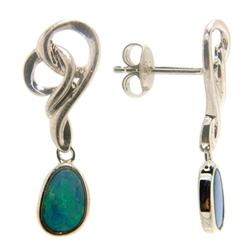 Blue Boulder Opal Swirl Dangle Fashion Earrings Jewelry for Women (Boulder Opal Earrings)