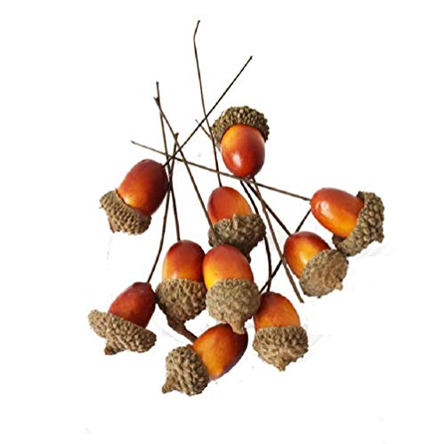 Merryoung 20pcs Artificial Acorns Picks for Thanksgiving Home Decor Fall Autumn Display Wedding Party Holiday Miniature Garden Candy Boxes Bag Venue Decoration Craft DIY (Style 1) -