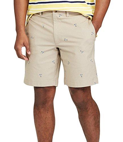Chaps Mens Classic-Fit Stretch Poplin Flat-Front Printed Shorts (Hampton Khaki, ()