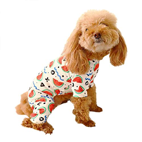 ABCOnline Dog Pet Summer Jumpsuit, Watermelon Printing Shirt for Small Dog Pet Pajamas Clothing Costume Apparel